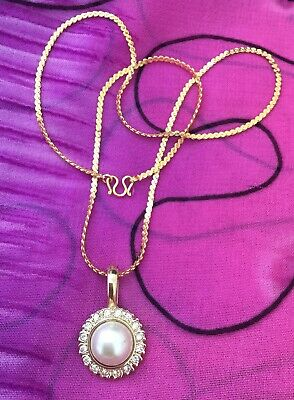 Vintage Antique Gold Pearl Crystal Pendant Charm Necklace Estate Find Retro Vtg