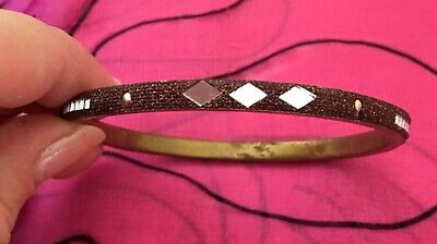 Vintage Antique Gold Indian Mirrored Beaded Bangle Bracelet Estate Find Vtg Boho