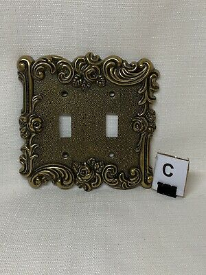(C) Vintage Brass Amertac Hardware Double Light Switch Plate Cover Rose 60TT