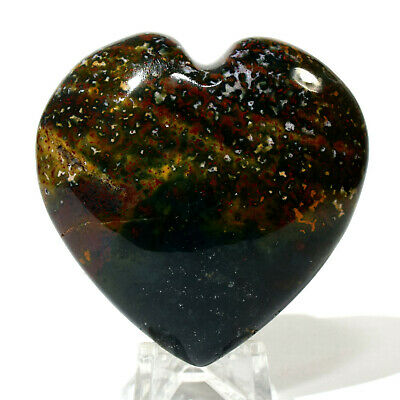 "2.3"" Bloodstone Puffy Heart Multicolor Natural Heliotrope Mineral Stone - India"