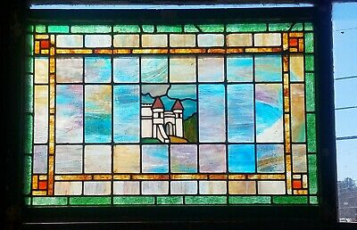 Antique Stained Glass Window With Castle 26 By 39
