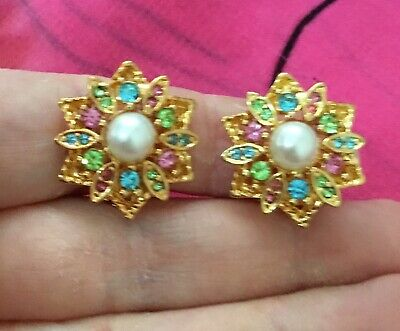 Vintage Antique Gold Colourful Flower Pearl Crystal Clip On Earrings Estate Find