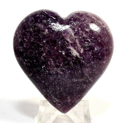 48mm Deep Purple Lepidolite Heart Sparkling Natural Litha Mica Crystal - Brazil