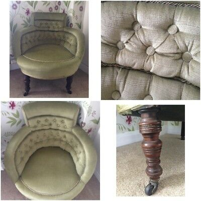 Beautiful Antique chair, light green velvet, dark wood turned legs with castors