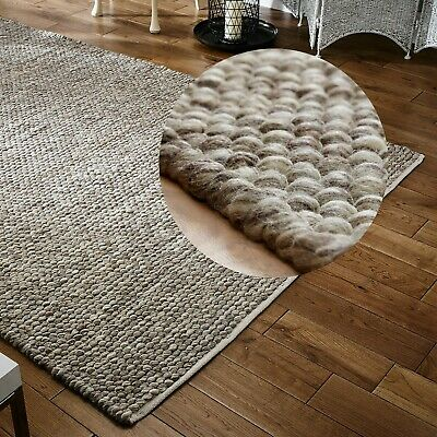 Modern Small Extra Large 100% Pure Wool Pebbles 3D Taupe Beige Online Rug Sale