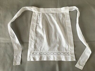 Vintage Fine Cotton French Maid White Embroidered Waist Apron