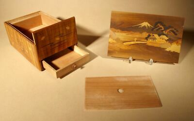 Antique Japanese Finally Inlaid Marquetry  Box With  Mount Fuji and Secret Compa