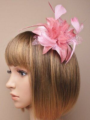Allsorts Dusky Pink Feather Comb Fascinator Brooch Pin Ladie