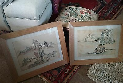 pair of antique oriental watercolours on silk paintings ,signed