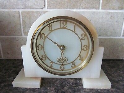 "ANTIQUE/VINTAGE ""SMITH"" ART DECO MARBLE Wind Up MANTLE CLOCK ,WORKING."