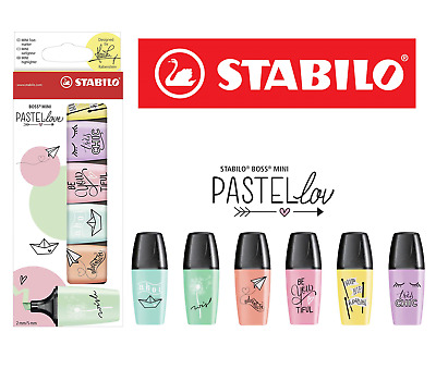 STABILO BOSS Highlighters Pens MINI Pastellove Wallet of 6 Assorted Colours