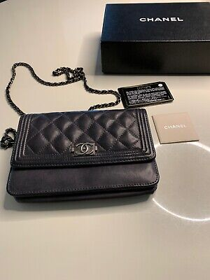 6c13cb09c7cb2b CHANEL BOY WALLET On Chain Quilted Diamond O-Mini Bag Metallic ...