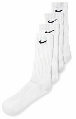 b02bdc503 $50 NIKE Mens 4 PAIR-PACK White Cushioned Athletic Cotton CREW SOCKS SHOE 8-