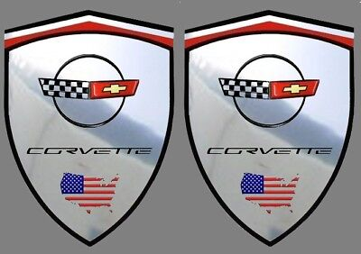 2 autocollants stickers chrome CORVETTE C4  (idéal ailes avant) C 4