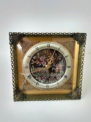 Working Vintage Ornate Brass & Gilt Mechanical Mantel Clock W/ Embroidered Face
