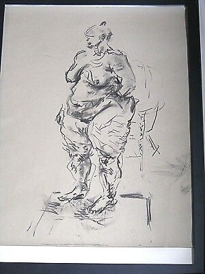 Figure life drawing nude, expressive charcoal/paper, woman standing,  A2 size @