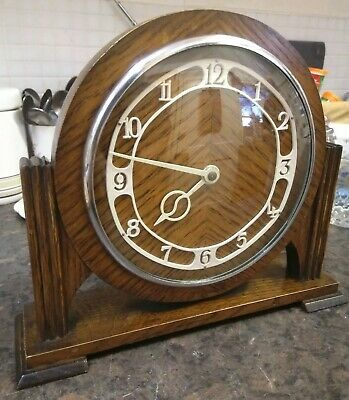 Art Deco Smiths Oak Cased Mantle Clock