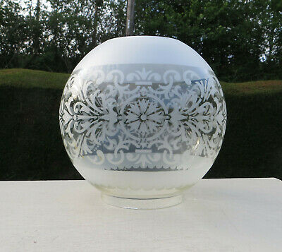 """Vintage Etched Glass Oil Lamp Shade / Globe, 4"""" fitter - Duplex"""