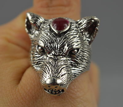 AAA China Collect Decorate Tibet Silver Carve Fierce Wolf Head Noble Unique Ring