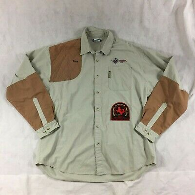 0e7560c207c Columbia Men Sz XL Shooting Shirt RH Shoulder Patch Hunting Tan Texas  Sportsman