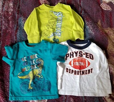Lot of 3 Baby Boys Shirts Sz 12 Months Long & Short Sleeved