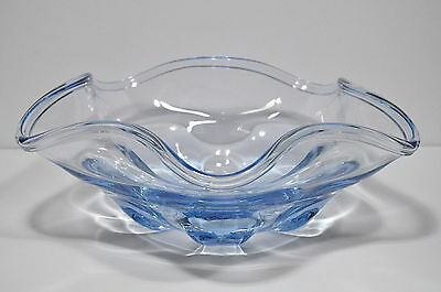 Vintage Scandinavian Sapphire Blue Art Glass Freeform Dish Unsigned