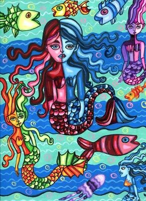 mermaids fish painting original abstract fantasy fairytale acrylic colorful art
