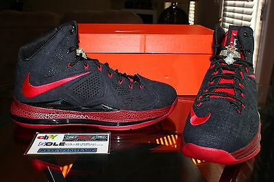 separation shoes 02cfc 8d265 Deadstock Nike Lebron 10 X Black Denim Red PE Player Exclusive Sample Size  10.5