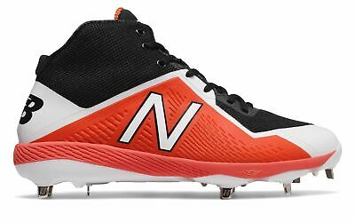 New Balance Mid-Cut 4040V4 Metal Baseball Cleat Mens Shoes Black With Orange