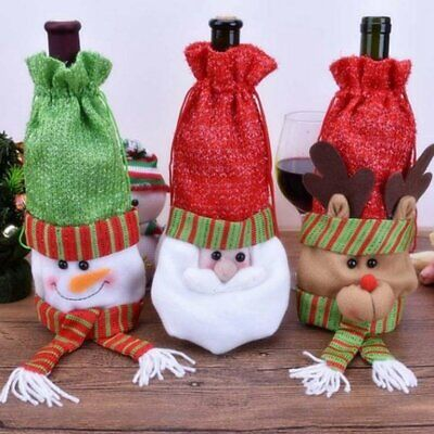 Santa Claus Decor Cover Wine Bottle Cover Red Wine Gift Bags Home Ornaments R3