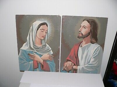 1960 PBN  Jesus Mary 12x16  Paint by Number Vintage
