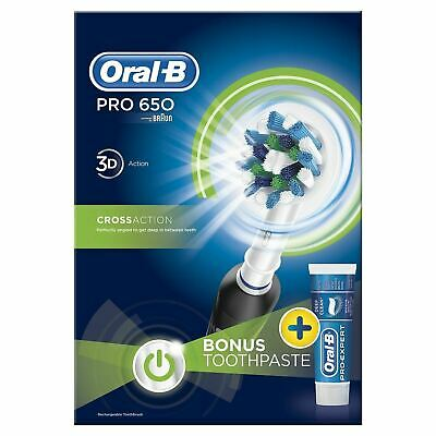 Oral-B PRO 650 BLACK CROSSACTION ELECTRIC RECHARGEABLE TOOTHBRUSH + PASTE+ HEADS