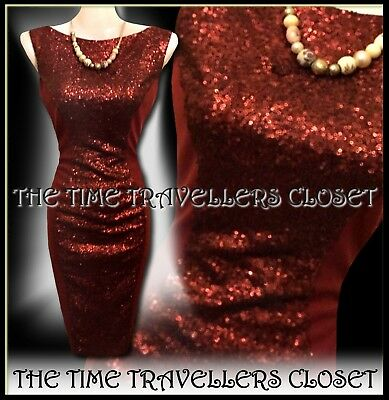 New Amy Childs Claret Wine Sequin Bodycon Wiggle Midi Dress 50s Pinup UK 10 38 6