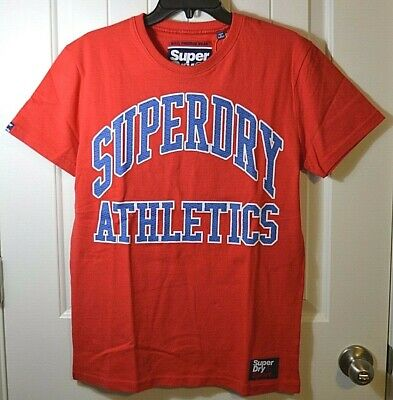 NWT MEN/'S SUPERDRY SPICED RED TEAM TIGERS PODIUM SHORT SLV CREW T SHIRT SZ M L