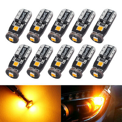 10pcs T10 3030 3SMD Canbus LED Bulbs Error Free Amber interiior Wedge Side Light