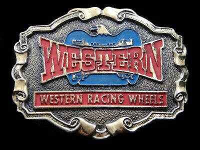 SA15140 GREAT VINTAGE 1970s ***WESTERN RACING WHEELS*** DRAG RACING BELT BUCKLE