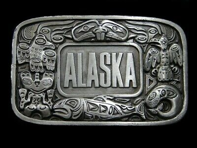 SA15111 *NOS* VINTAGE 1970s **ALASKA** STATE COMMEMORATIVE PEWTER BELT BUCKLE
