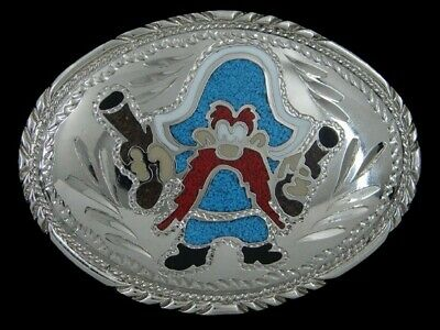 Sa15154 Vintage 1988 **Yosemite Sam** Cartoon Commemorative Chrome Belt Buckle