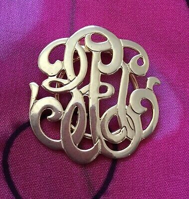 Vintage Antique Gold Monogram Scarf Clip Pin Estate Find Vtg Retro Kitsch Nanna