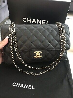 ec233862acc589 NWT BOX CHANEL 2018 Black Caviar Leather M/L Double Flap Shoulder ...