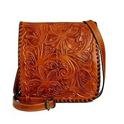 Patricia Nash Granada Burnished Tooled Leather Gold Brown Crossbody Bag New $149