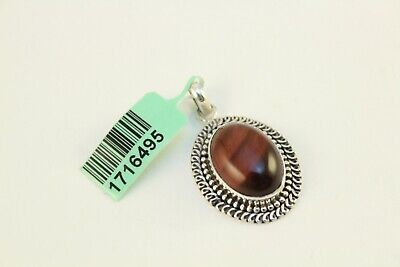 Artisan Crafted South African Red Tiger Eye Jewelry Pendant .925 Sterling Silver