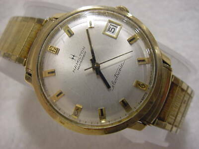 Vintage GOLD FD large antique Art Deco HAMILTON MASTERPIECE ELECTRIC mens watch
