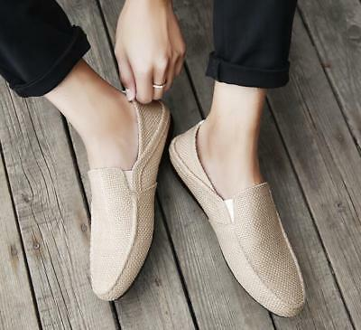 Mens Breathable Slip On Driving Espadrilles Moccasins Hemp Gommino Shoes Loafers