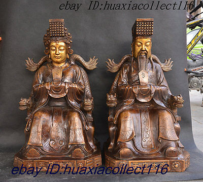 Rarely Chinese Bronze Gilding The Emperor of Heaven The Queen Mother Statue Pair