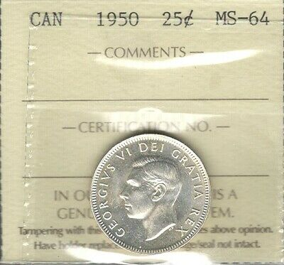 1950 Twenty-Five Cents ICCS Graded MS-64 STUNNING King George VI Canada Quarter