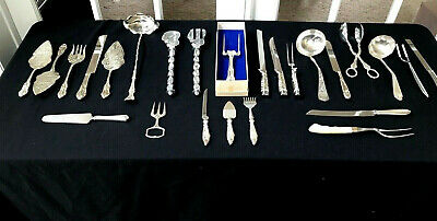 Silverplate Spoon Fork Knife Serving 25 Piece Lot Mixed Resale Craft Use 10 Lbs
