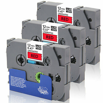 3PK Label Tapes TZe-431 12mm Black on red Compatible Brother p-touch  PT-1890C