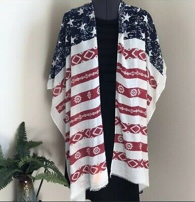 b0f374f68 Women's Kimono American Flag Cover Up Red White Blue Duster 4th July Holiday