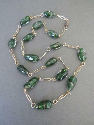 Vintage Art Deco Murano Venetian Foil Glass Bead Necklace